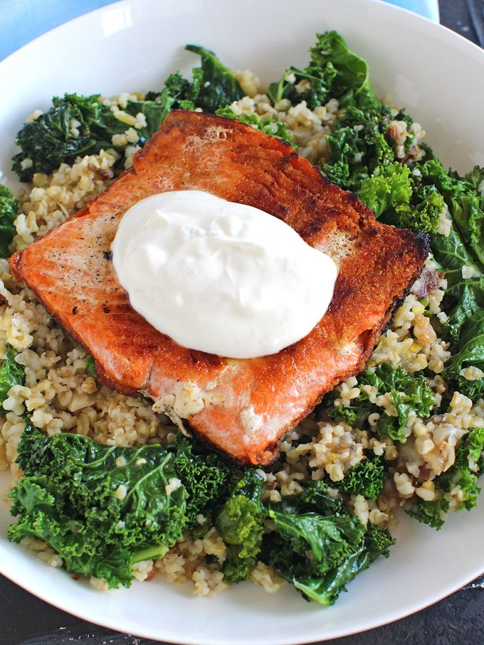 Blue Apron Seared Salmon.