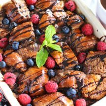 Chocolate French Toast Casserole made with Challah bread that was soaked overnight in a chocolaty mixture.