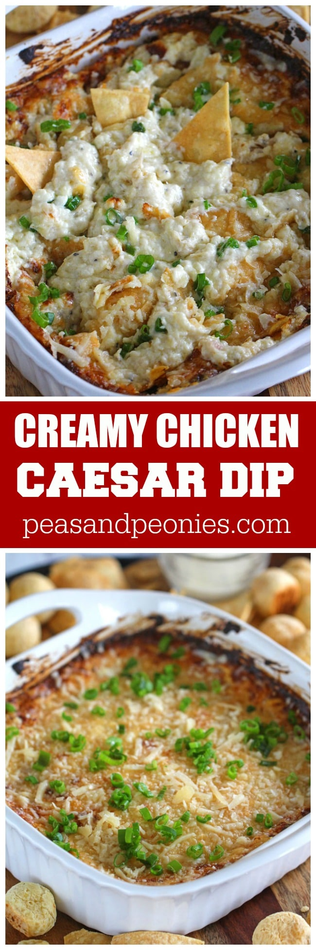 Chicken Caesar Dip is naturally gluten free and made easy with rotisserie chicken and a blend of 3 cheeses.