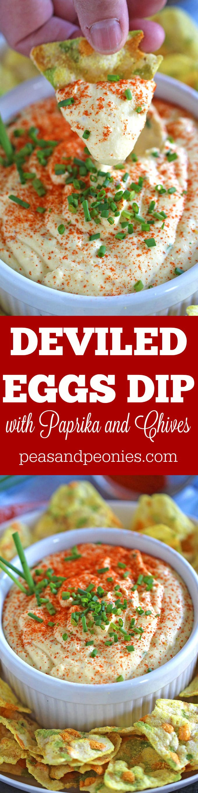 Deviled Eggs Dip with paprika and chives is a great way to use leftover eggs. The dip is naturally Gluten Free, creamy, just a bit spicy, this is an easy and delicious appetizer.