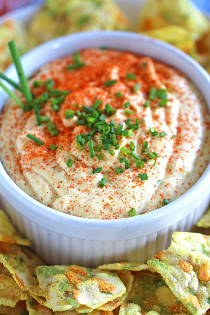 Deviled Eggs Dip made entirely in the food processor. Paprika and chives are great, tasty additions. An easy to make appetizer for a big crowd.