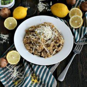 Lemon White Wine Brown Rice Risotto