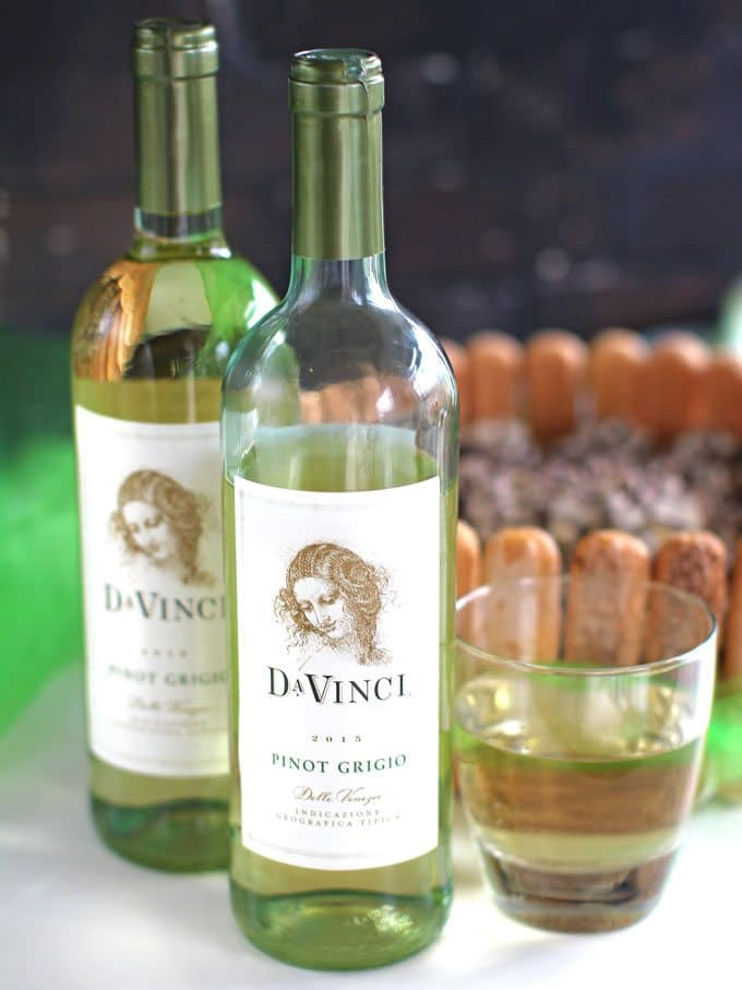 No Bake Tiramisu Cheesecake served with DaVinci Pinot Grigio.