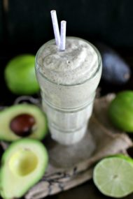 Avocado Lime Smoothie made with Vegan Mint Chocolate Chip Avocado ice cream, coconut milk and refreshing lime zest, tastes like a fancy shake.