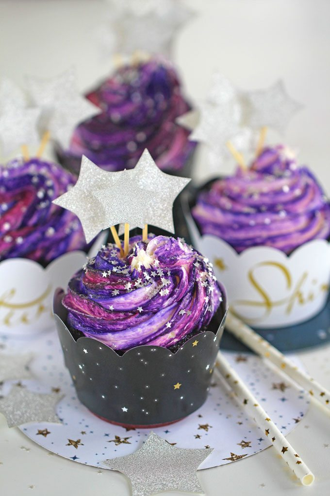 "Galaxy Cupcakes are made easy with the ""no colored buttercream"" trick."