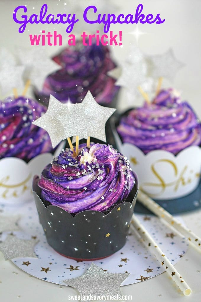 Galaxy Cupcakes with a trick