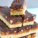 Homemade Snickers Bars are very easy to make and melt in your mouth with deliciousness. Buttery shortbread, caramel with crunchy peanuts and chocolate!