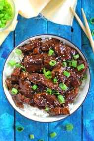 Instant Pot Mongolian Beef ready in 30 minutes! Made with lots of minced garlic and fresh ginger.