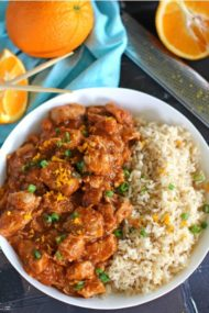 Instant Pot Orange Chicken is healthier than takeout and only takes around 30 minutes to make. Best served over rice or noodles.
