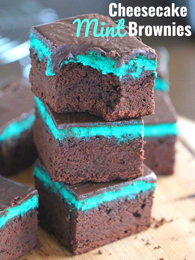 Cheesecake Mint Brownies with Chocolate Ganache