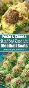 Meatball Zucchini Boats are stuffed with pesto, juicy meatballs and topped with Alfredo sauce and lots of cheese, for a quick and delicious dinner or easy appetizer.