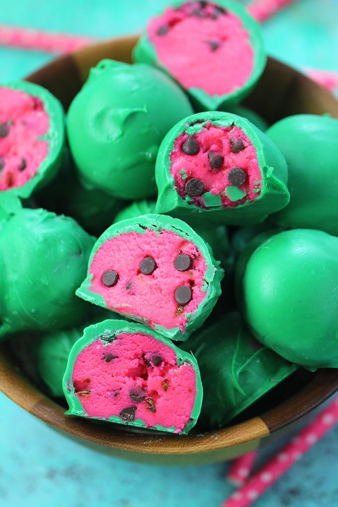 Watermelon Truffles are a fun, tasty and colorful summer treat. Easy to make, with just a few ingredients, these are also no bake.