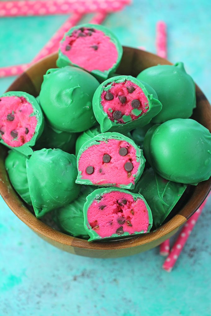 Watermelon Truffles are a fun, tasty and colorful summer treat. Easy to make, with just a few ingredients, these are also no bake and perfect to brighten your day.