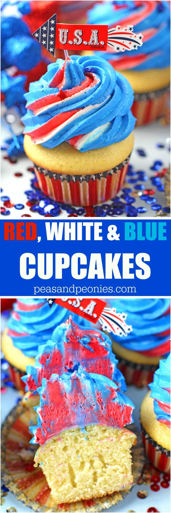 Red White and Blue Patriotic Cupcakes are perfect for 4th of July celebration.
