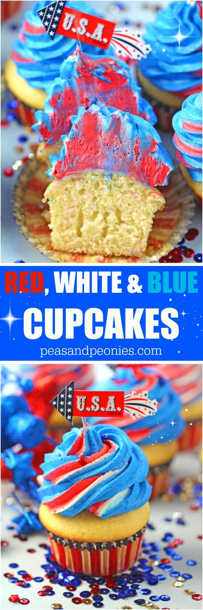 Red White and Blue Cupcakes topped with sweet red, white and blue buttercream swirl.