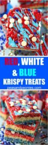 Red White and Blue Rice Krispy Treats are fluffy, sweet and very easy to make. Colored in red, white and blue to look extra festive and fun.