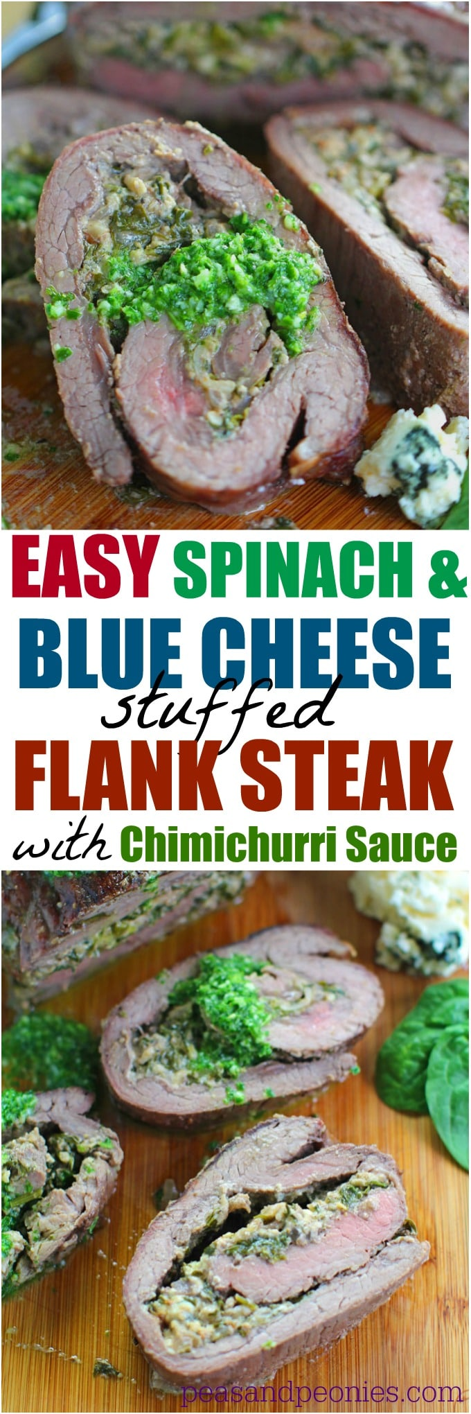 Stuffed Flank Steak with Spinach and Blue Cheese is packed with garlic, caramelized onions and walnuts. Very easy to make and packed with amazing flavors!