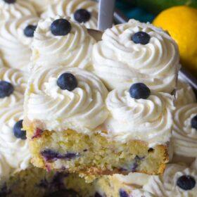 Blueberry Zucchini Poke Cake