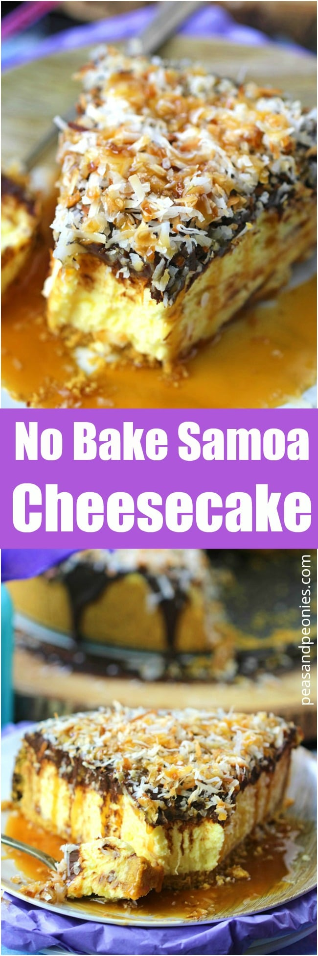 The best and creamiest No Bake Samoa Cheesecake is indulgent and delicious. Topped with chocolate ganache, lots of toasted coconut and finished with caramel sauce.
