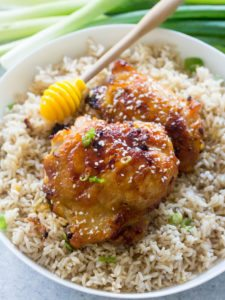 Honey Garlic Mustard Chicken made with just 6 ingredients in one pan, makes weeknight dinners easy and delicious.