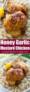 One Pan Honey Garlic Mustard Chicken made with just 6 ingredients, makes weeknight dinners easy and delicious.