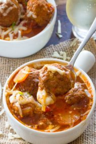 Easy Instant Pot Italian Meatball Soup is made in one pot in your Instant Pot, with budget friendly ingredients and in just 30 minutes.