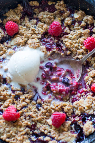 Mixed Berry Crisp is such an easy and delicious recipe that anyone can easily make. Juicy berries, under a sweet, crisp, golden crust!