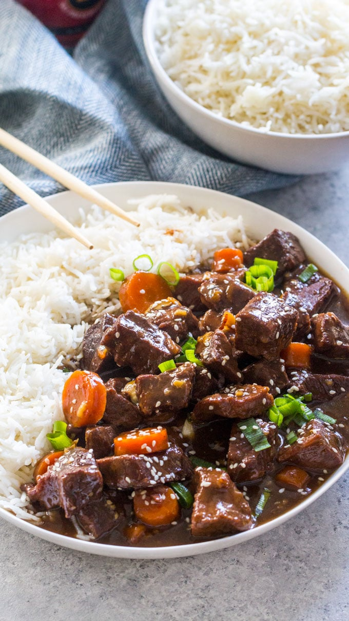 Easy to make Slow Cooker Beef Teriyaki is the perfect weeknight meal. Just add all the ingredients to the crockpot and cook a great dinner.