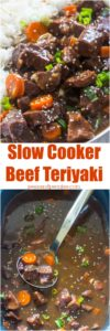 Very easy to make Slow Cooker Beef Teriyaki is the perfect weeknight meal. Just add all the ingredients to the crockpot and cook.
