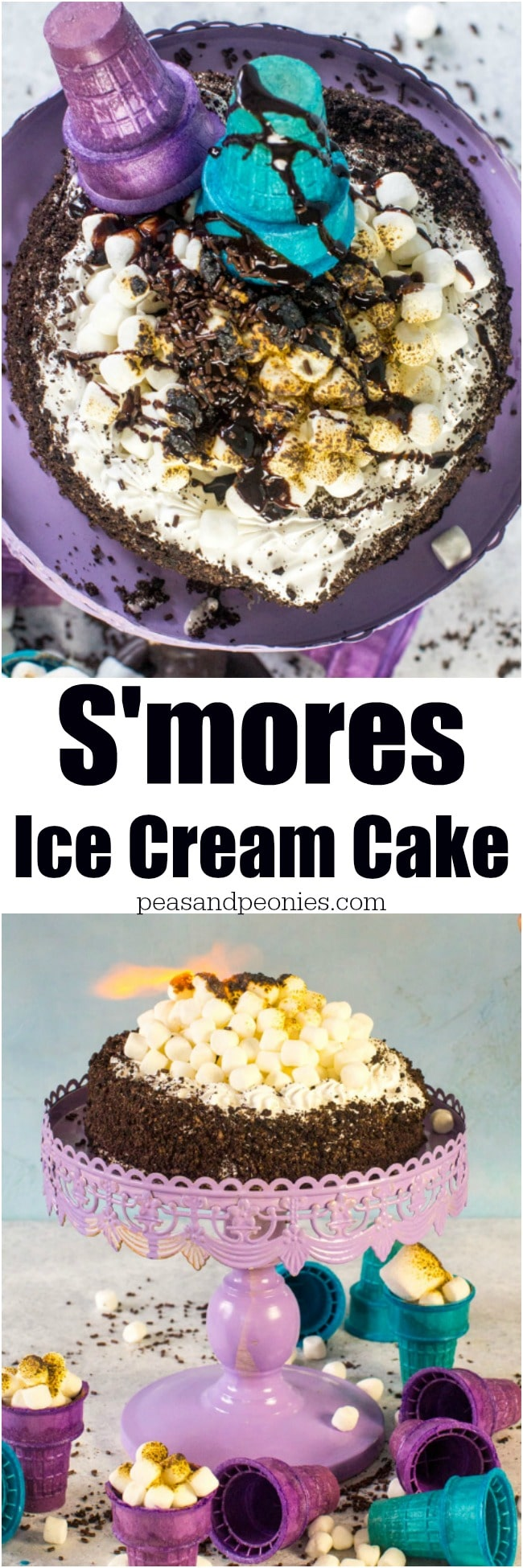 S'mores Ice Cream Cake is so easy and fun to decorate. Customizable and pretty, this cake is great for birthday parties or playdates.