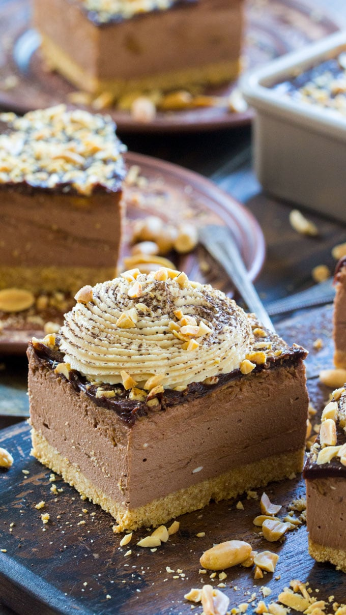 Creamy No Bake Chocolate Peanut Butter Cheesecake with an amazing creamy texture and peanut butter chocolate flavor.