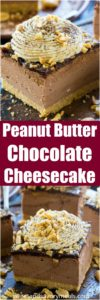 No Bake Chocolate Peanut Butter Cheesecake is delicious with an amazing creamy texture and peanut butter chocolate flavor.
