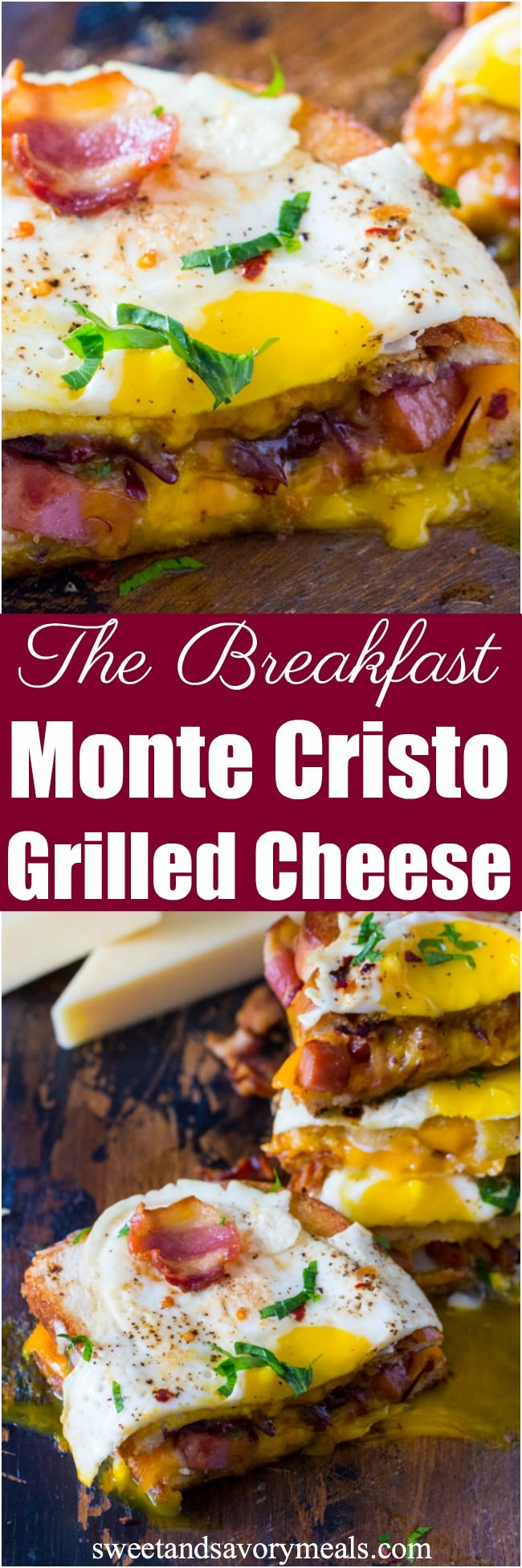 The best Monte Cristo Grilled Cheese sandwiches are deliciously stuffed with fried ham, bacon, cheese and topped with a perfect runny egg.
