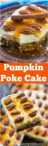 Best Pumpkin Poke Cake is deliciously infused with a sweet white chocolate sauce, topped with cream cheese frosting, caramel and crunchy pecans.