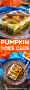 White Chocolate Pumpkin Poke Cake is deliciously infused with a sweet white chocolate sauce, topped with cream cheese frosting, caramel and crunchy pecans.