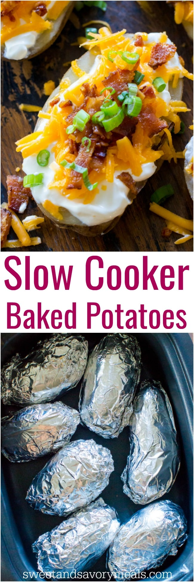 Easy Slow Cooker Baked Potatoes are the perfect side dish that you can make in your slow cooker year around. Seriously, its the easiest recipe you will ever make!