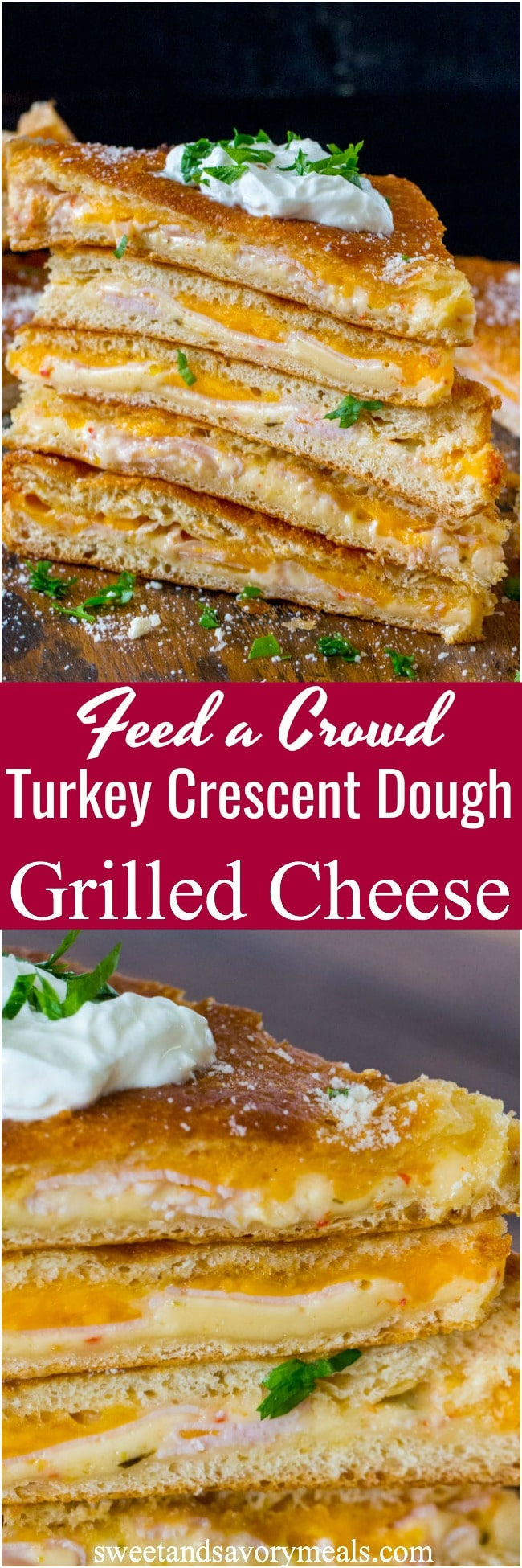 Turkey Grilled Cheese sandwiches made easy to cook in a large batch using crescent dough sheets. Delicious and fit to feed a crowd with minimum effort!