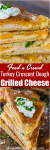 Baked Turkey Grilled Cheese made easy to cook in a large batch using crescent dough sheets. Delicious and fit to feed a crowd with minimum effort!