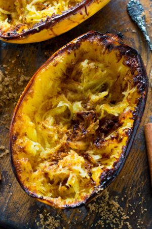 Brown Sugar Spaghetti Squash is baked to perfection and served topped with a buttery mixture of brown sugar, cinnamon and nutmeg.