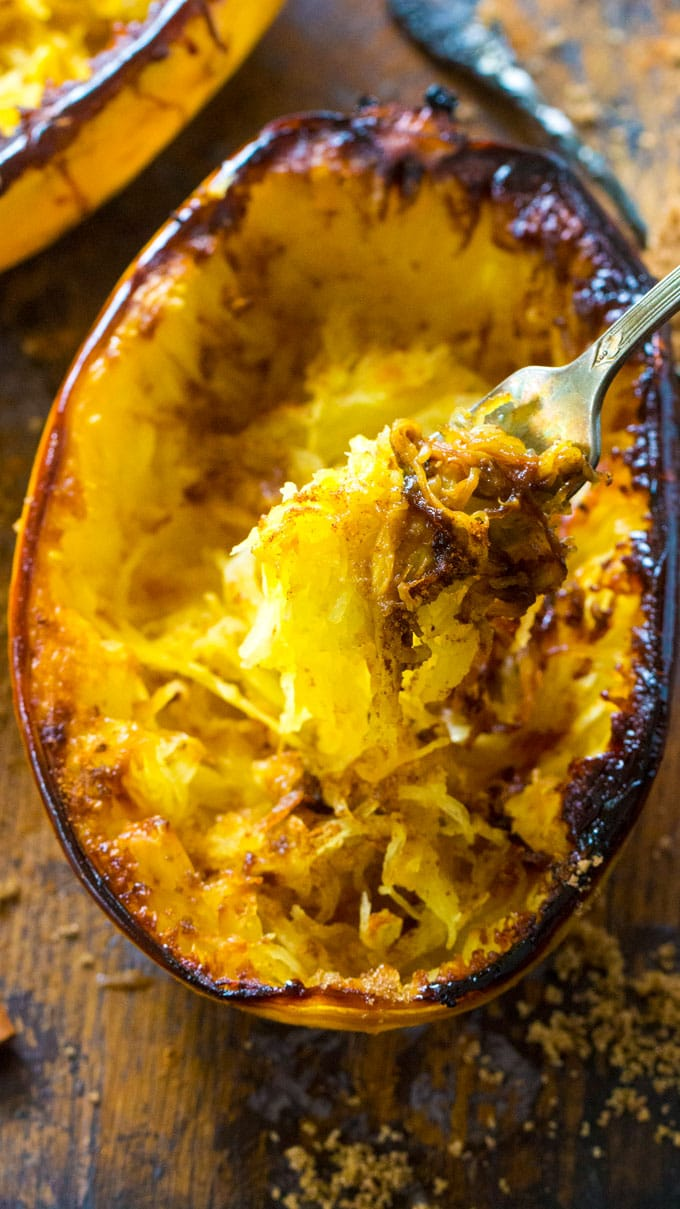 Sweet Brown Sugar Spaghetti Squash is baked to perfection and served topped with a buttery mixture of brown sugar, cinnamon and nutmeg.