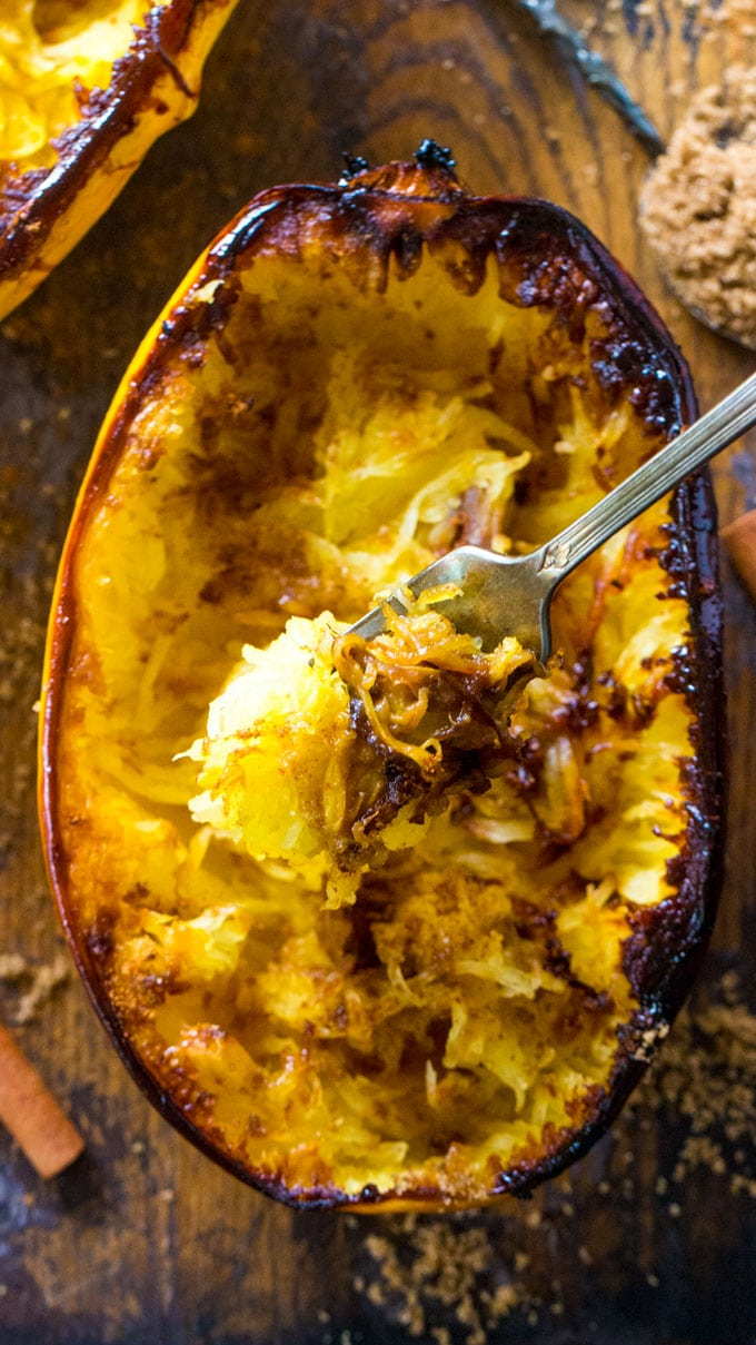 Tasty Brown Sugar Spaghetti Squash is baked to perfection and served topped with a buttery mixture of brown sugar, cinnamon and nutmeg.