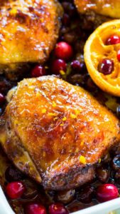 Cranberry Orange Chicken is the perfect, one pan, seasonal meal made with juicy, tart cranberries and fresh orange juice and zest.