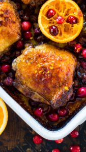 One Pan Cranberry Orange Chicken is the best seasonal fall meal made with juicy, tart cranberries and fresh orange juice and zest.