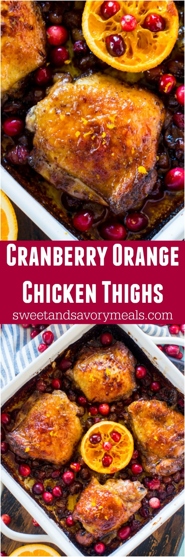 One Pan Cranberry Orange Chicken is the perfect, seasonal meal made with juicy, tart cranberries and fresh orange juice and zest.
