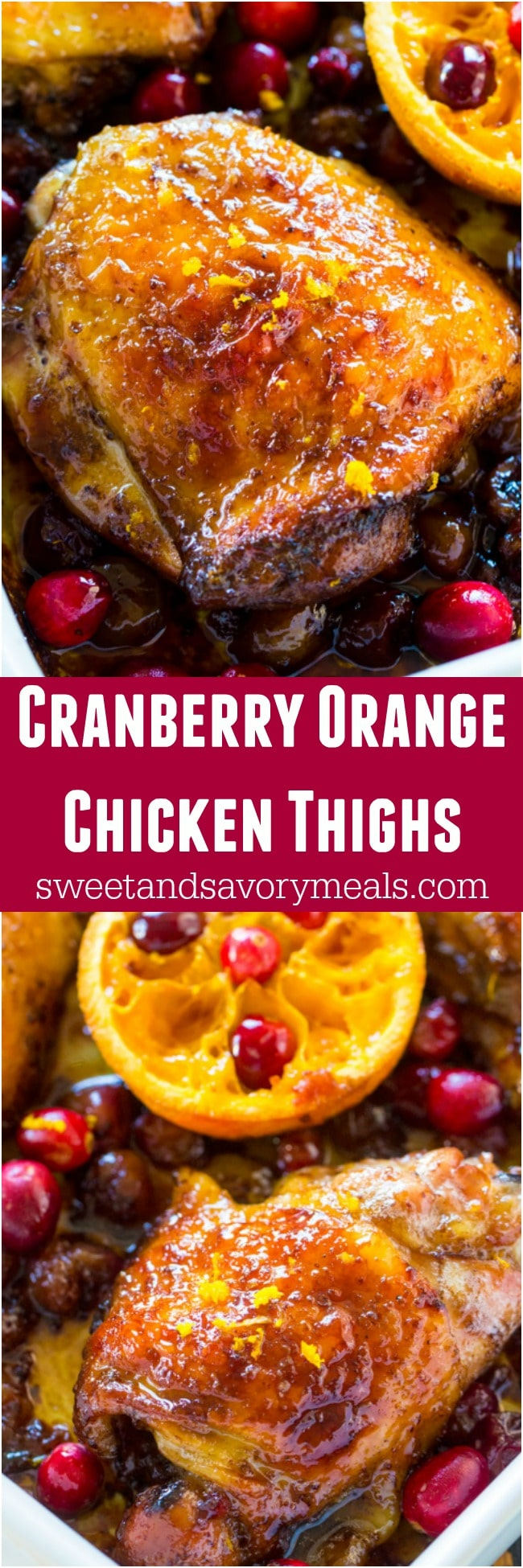 Cranberry Orange Chicken is the perfect, seasonal fall meal made with juicy, tart cranberries and fresh orange juice and zest.