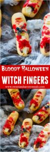 Bloody Halloween Desserts like these Witch Fingers, are a fun and easy way to take your Halloween treats to a new scary, delicious and fun level!