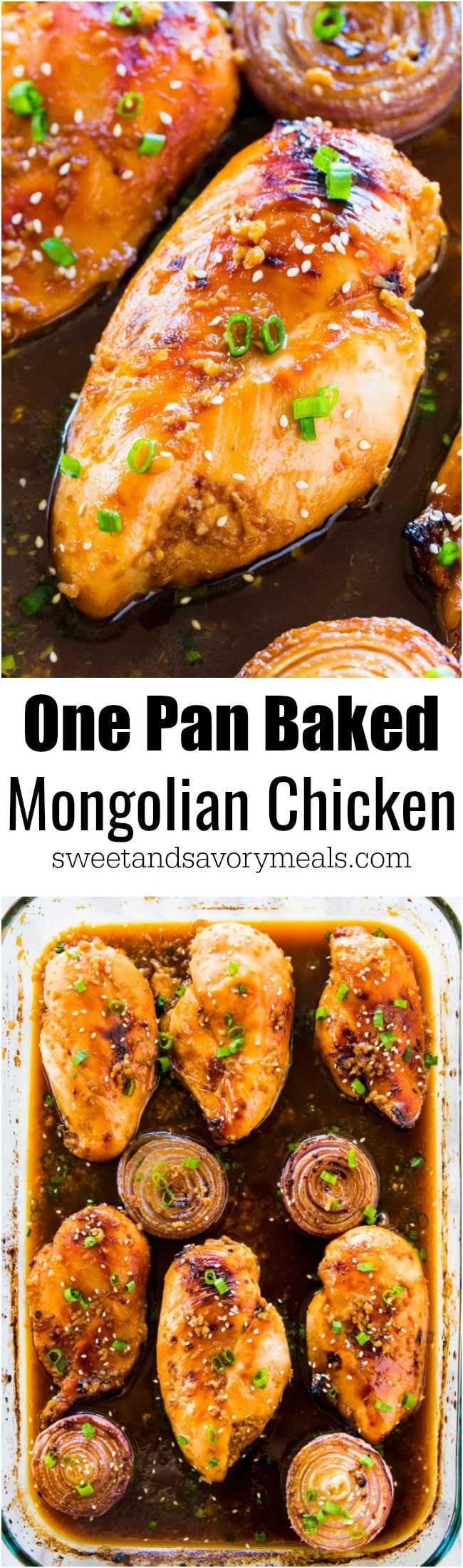 Baked Mongolian Chicken is the perfect combo of sweet and savory. A very easy dish, made in one pan and baked instead of fried.