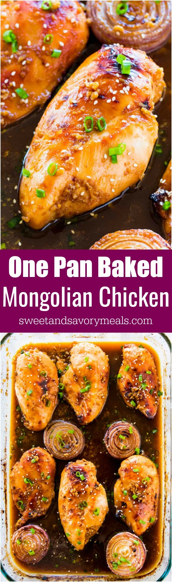 Oven Baked Mongolian Chicken is the perfect combo of sweet and savory. A very easy dish, made in one pan and baked instead of fried.