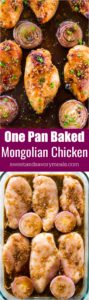 Amazing Baked Mongolian Chicken is the perfect combo of sweet and savory. A very easy dish, made in one pan and baked instead of fried.