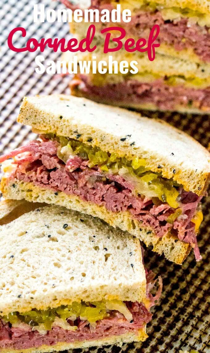 Image of homemade corned beef sandwiches on rye bread.